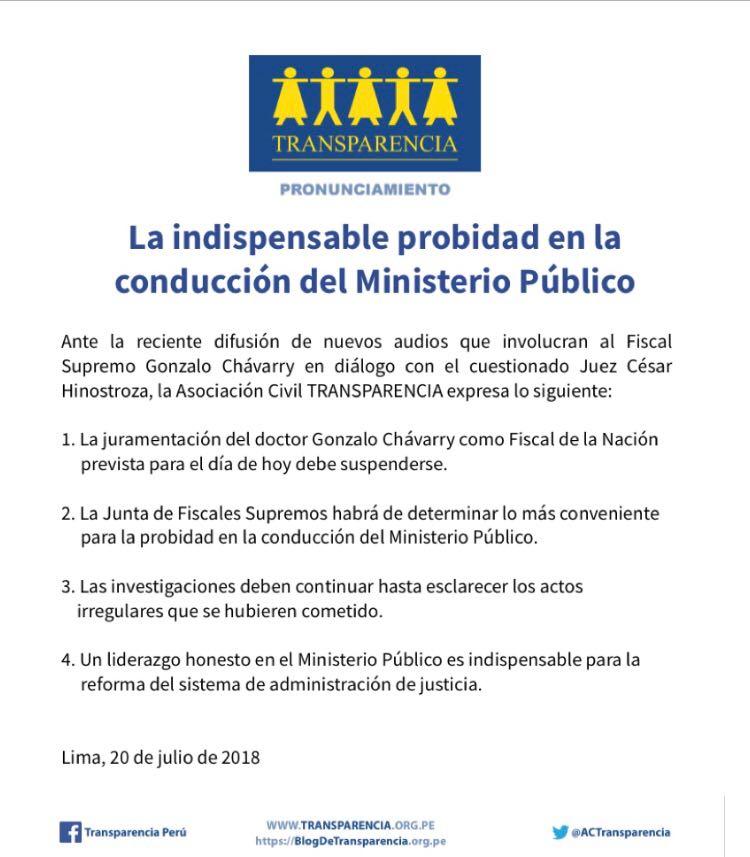 Transparencia: La indispensable probidad en la conducción del Ministerio Público