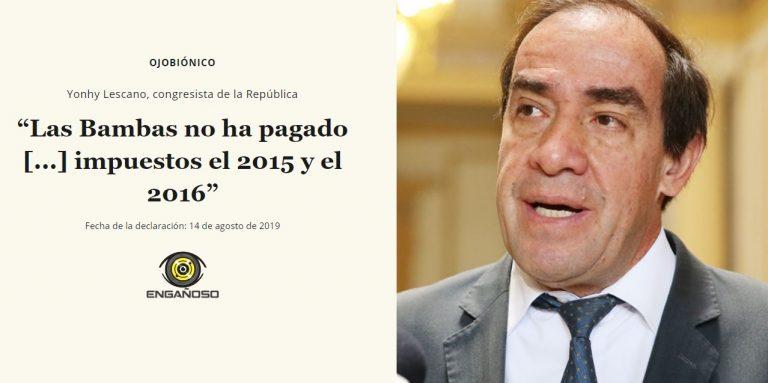 """Yonhy Lescano: """"Las Bambas no ha pagado […] impuestos el 2015 y el 2016"""""""