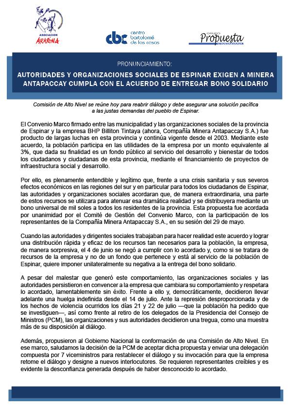 Autoridades y organizaciones sociales de Espinar exigen a Minera Antapaccay cumpla con el acuerdo de entregar bono solidario.