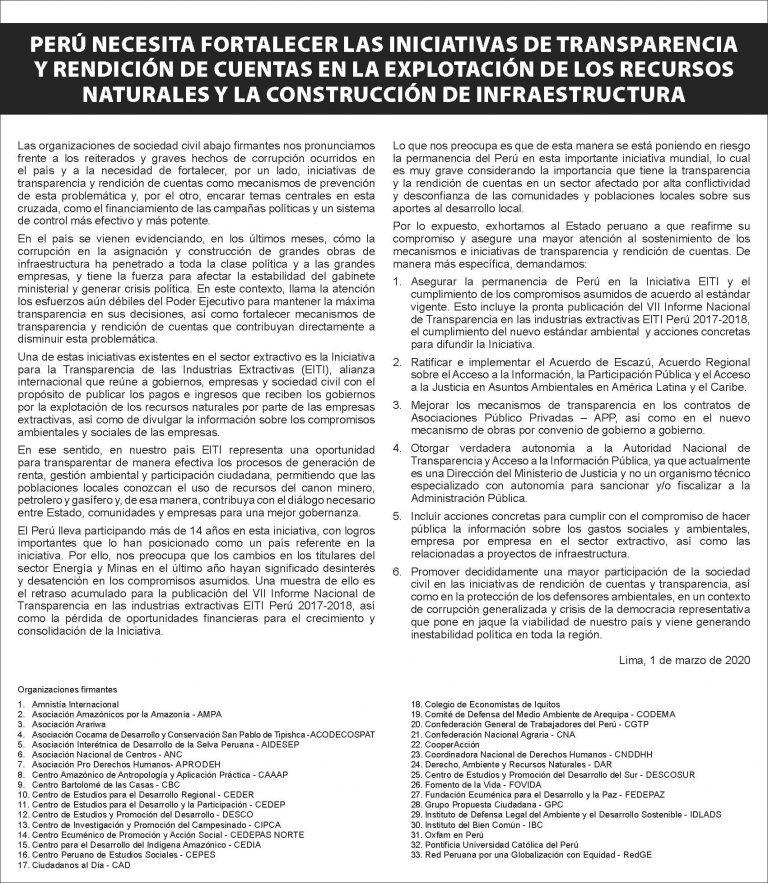 Perú necesita fortalecer las iniciativas de transparencia y rendición de cuentas en explotación de los recursos naturales y la construcción de la infraestructura