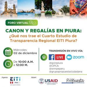 Foro virtual. Canon y regalías en Piura: ¿Qué nos trae el cuarto estudio de transparencia regional EITI Piura?