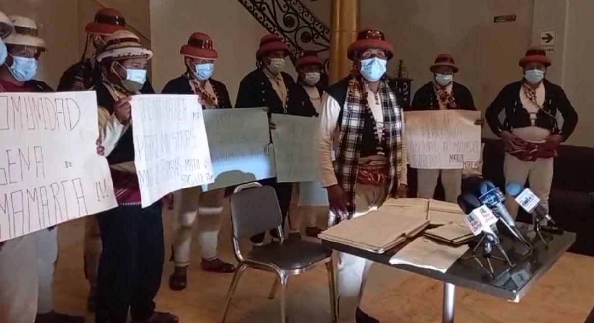 LAS BAMBAS. En febrero, representantes de la comunidad campesina de Pumamarca llegaron a Lima para exponer los problemas que mantienen con la minera Las Bambas y pedir que les devuelva sus tierras.